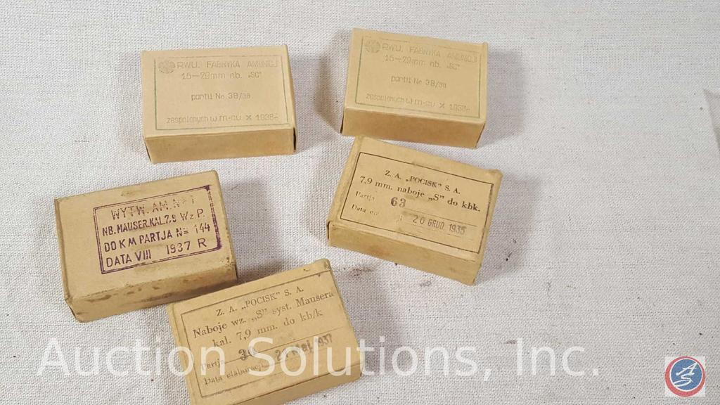 Lot: Polish Military pre-WWII Surplus 8mm Mauser Ammo - (5