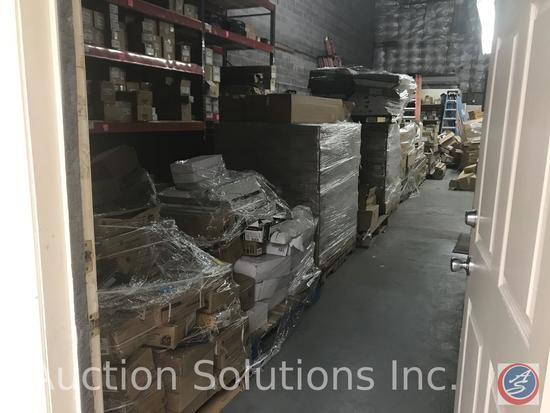 Approximately 19 pallets on floor and contents of the space above the office. Contents include the