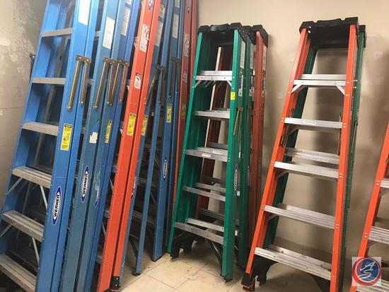 {{TIMES THE MONEY}} (3) Werner 6 foot stepladders, and (1) Louisville 6 foot step ladder 225 lb