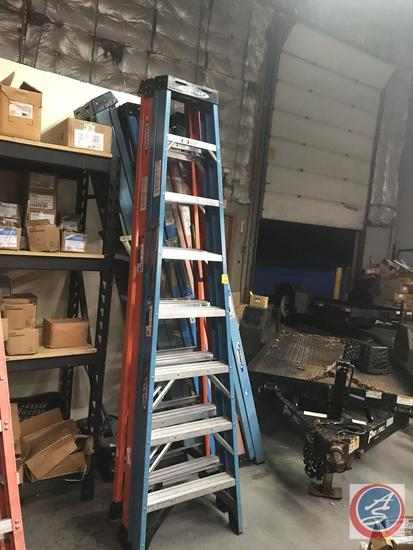 {{TIMES THE MONEY}} (7) Werner 8 foot Step Ladders, some are 225 lb weight limit, some are 300 lb