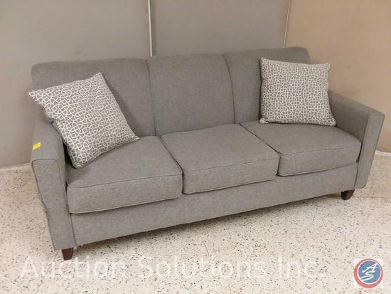Washington Furniture brand grey 3 cushion sofa with (2) decorative throw pillows (80x36) {{SOME