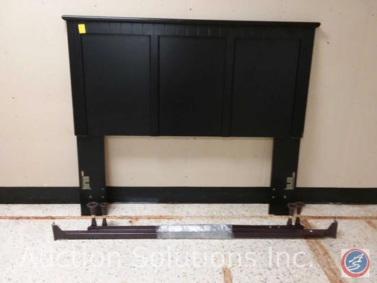Full/Queen matte black headboard and rails (65x55.5)