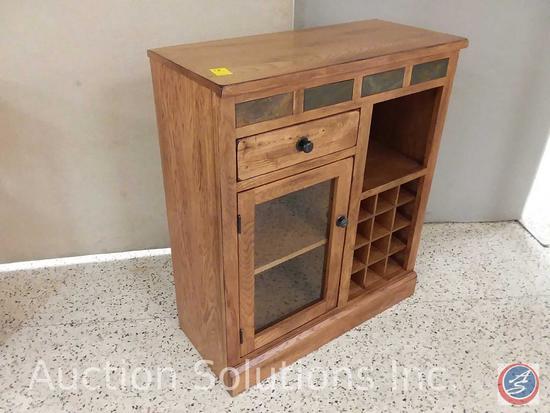 Sunny Designs rustic oak mini bar with 12 bottle wine rack, glass hanger inside door, natural slate