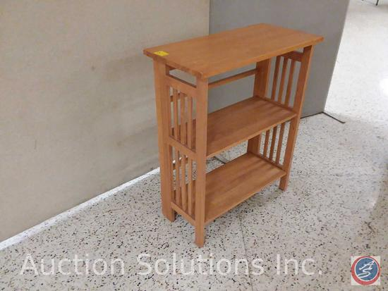 Collapsible wood 3 tier shelving unit (28x14x34)
