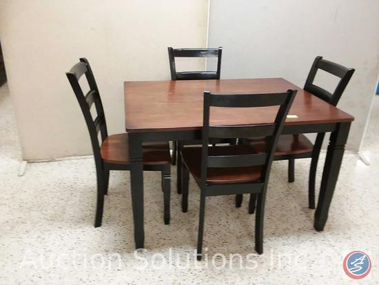 Ashley rectangle distressed black cherry dining table with (4) chairs (48x36x30)