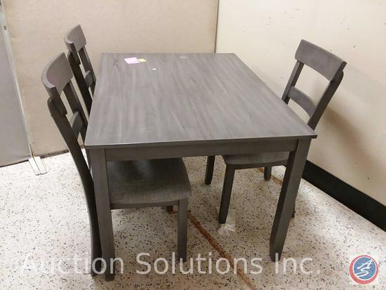 Crownmark gray dining table (48x36x30) and (3) gray padded chairs {{SOME STAINS ON TABLE TOP}}