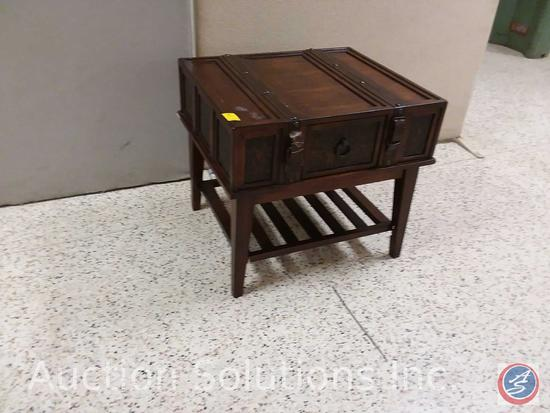 Wood suitcase style coffee table with one drawer and lower shelf (29x25x26) {{SOME DAMAGE}}