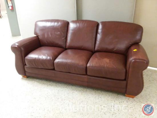 Brown leather Sofa Trend 3 cushion sofa (84x36) {{SOME MATERIAL DAMAGE}}
