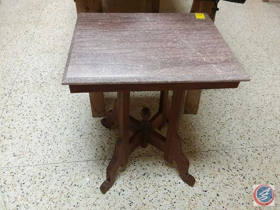 Small Marble Top Wood Table