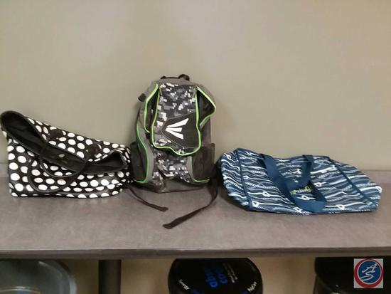 "Black and White Merona Polka dot purse, Easton backpack and blue and white ""Stay Cool"" bag"