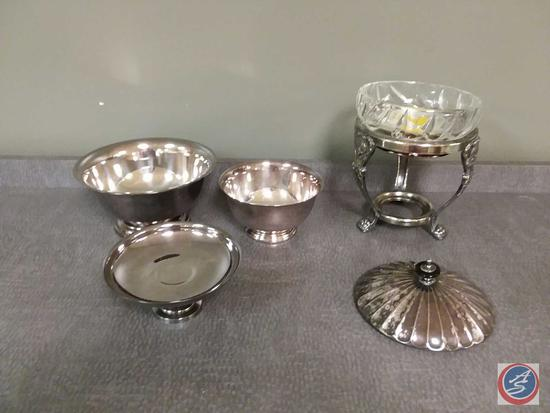 Chafer with glass bowl and lid, (2) metal mixing bowls, metal cake stand