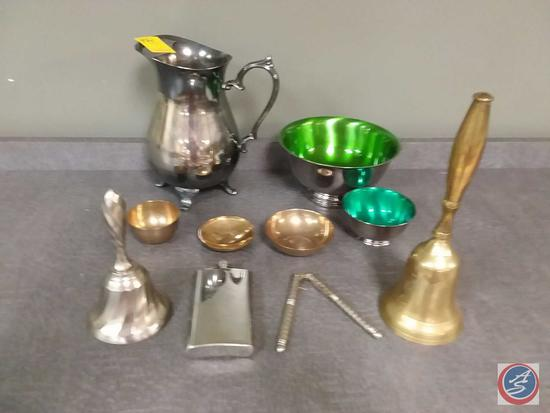 Assorted silver, silver plated and metal bowls, bells, pitcher, flask and nut cracker