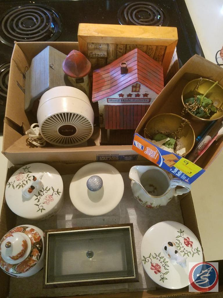 Lot: Box containing (2) wood house decorations, wine cork ...