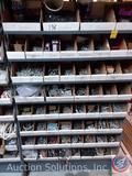 Steel shelving bin - 8 shelves w/ 64 bins {full of parts}