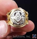 10K Gold Men's Masonic Ring with Diamond