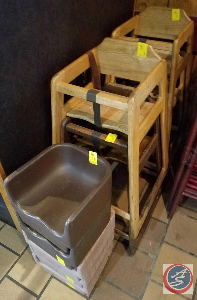 4 Wooden High Chairs and 5 Plastic Booster Seats