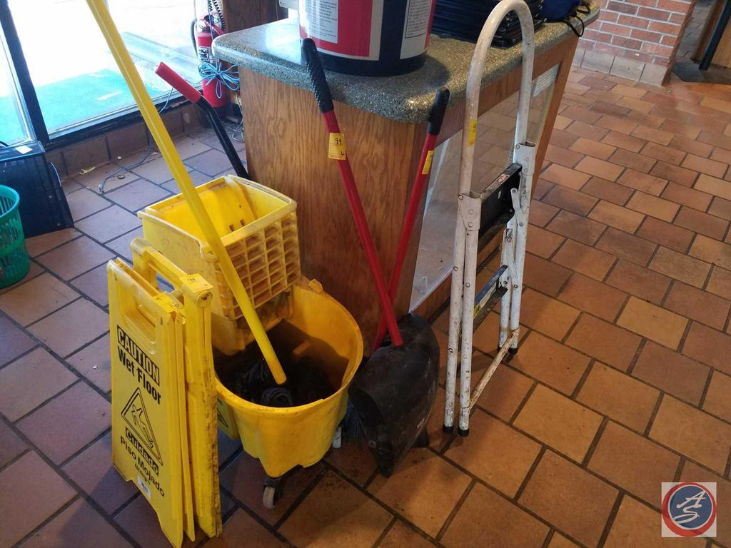 2 Wet Floor Signs, Mop and Mop Bucket, Step Ladder, Small Broom and Dust Pan