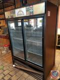 True Double Glass Sliding Door Vertical Cooler (GDM47) Measuring 54 1/4 X 29 X 78 1/2