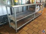 Stainless Steel Counter Top with Two Shelves Measuring 96 X 24 X 34
