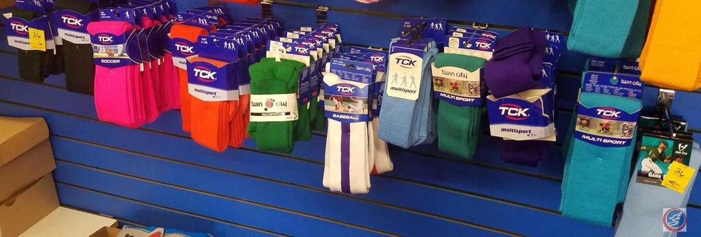 TCK Socks Assorted Sizes and Colors Contents of 10 Hooks