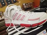Pair of White and Red Women's Adidas Size 6.5 Showdown 3DK