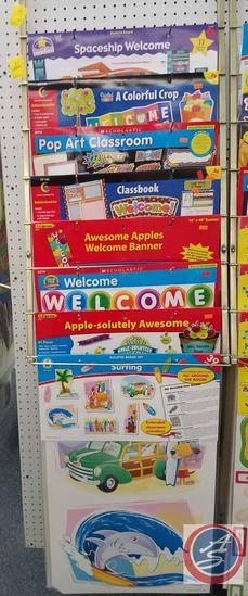 Assorted Bulletin Boards Including Spaceship Welcome, A Colorful Crop, Apple-Solutely Awesome and