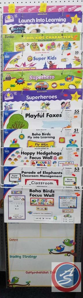 Assorted Bulletin Board Sets Such As Launch Into Learning, Cool Kids Characters, Super Heros and
