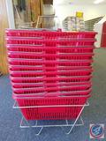 12 Red Hand Held Shopping Baskets in Rack