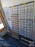 Blue Wire Book Rack Measuring 53 X 26 and Blue Wire Rack Measuring 52 X 37.5 (SOLD 2X'S THE MONEY)