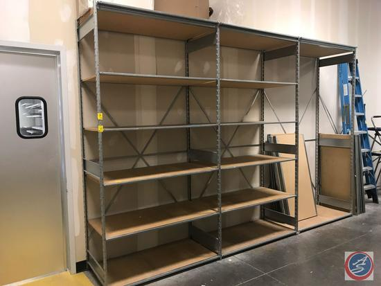 "Metal and Presswood Storage Shelving Unit Measuring 96"" x 47"" x 24"", 3 Sections, Including 33"