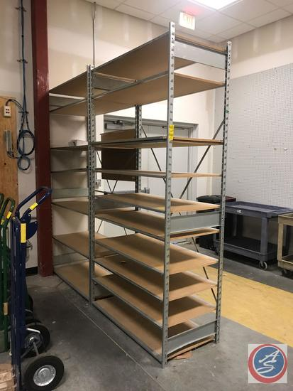"Metal and Presswood Storage Shelving Unit Measuring 96"" x 47"" x 24"", 2 Sections, Including 18"