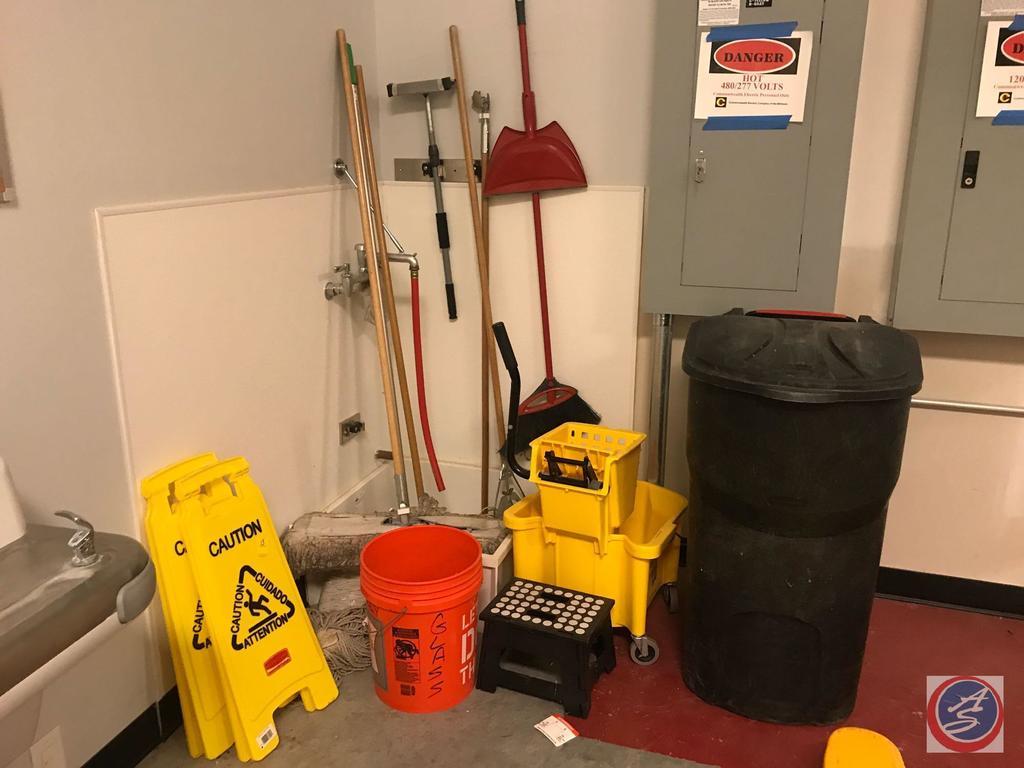 Industrial Mop Bucket, (2) Caution Wet Floor Signs, 5 Gallon Bucket, Dry Mop, Broom, Dustpan, Step