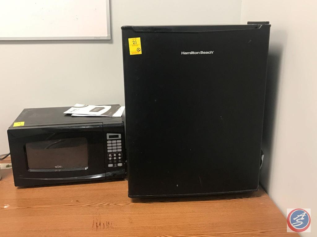 Hamilton Beach Mini Fridge Model #REFHB27AB and Walmart Microwave Oven Model EM720CWA-PMB