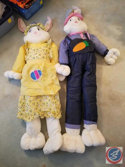 4 ft. Stuffed Bunnies (One Boy, One Girl) In Tote with Lid