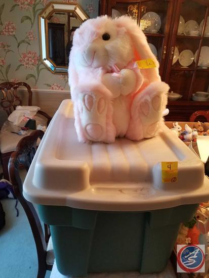 Large Plush Pink Easter Bunny and Assorted Bunny Figurines and Some Wooden Carved Bunny, Bunny Wall