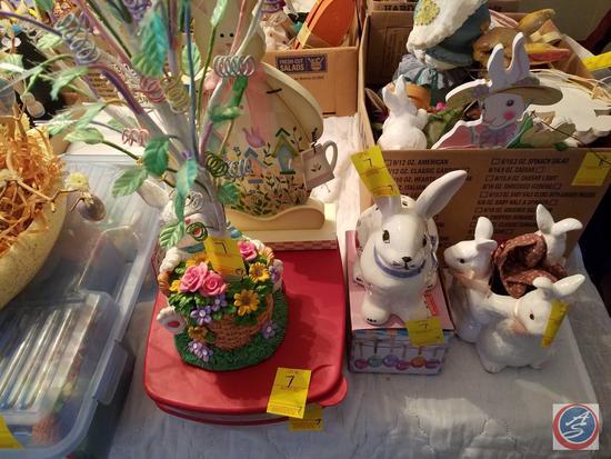 Fiber Optic Easter Tree and Bunny, Bunny Potpuri Holder, Egg Ornaments inside Two Deviled Egg