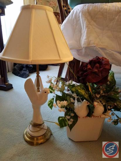 Dove Lamp with Shade and Vase with Dove and Greenery Decoration