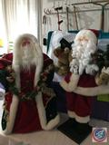 Two Vintage Table Top Santa's One on Plastic Cone, One on Wooden Stand Approx. 2.5 ft. Tall in