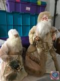 Two Table Top Vintage Santa's Both with Beige Robes One Approx. 2 ft. Tall, The Other 3 ft. Tall in