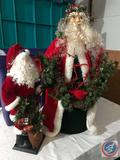 Two Vintage Table Top Santa's One Approx. 1.5 ft. Tall and The Other 2.5 ft. Tall in Hinged