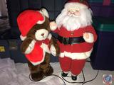 Vintage Electronic Plug-In Santa and Electronic Plug-In Bear Approx. 2.5 ft. Tall in Tote
