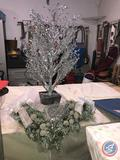 4 ft. Silver Mirrored Tree with Silver Toole Skirt, Frosted Pine Swags with Silver Bows, Tote