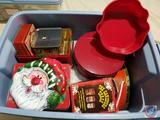 Holiday Tins for Cookies and Candies in Tote