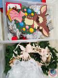 Deer Ornaments and Assorted Deer Holiday Decorations, Decorative Wreath Centerpiece with Candle and
