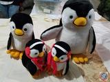 Plush Penguin Decorations (Mom, Dad and Two Babies)