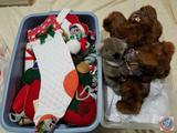 Assorted Decorative Holiday Mice, and Stuffed Bears in Tote (2 Totes)