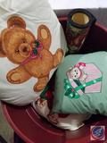 Festive Teddy Bear Rug and Pillows in Rubbermaid Garbage Container with Lid