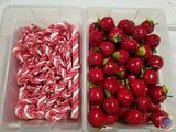 Red and White Rope Candy Canes and Apple Ornaments