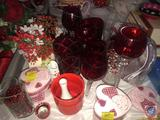 Assortment of Various Sized and Shaped Glassware and Heart Shaped Trinket Boxes and More
