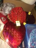Glass Valentine's Punch Bowl, Glass Heart, Wire Heart Decorative Storage Boxes, Heart Decorative